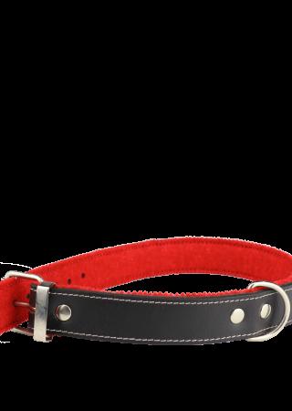 BA4024. Panzi Leren halsband met rode stof