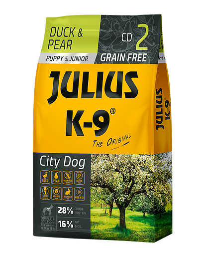 Julius-K9 graanvrije puppybrok Duck & Pear